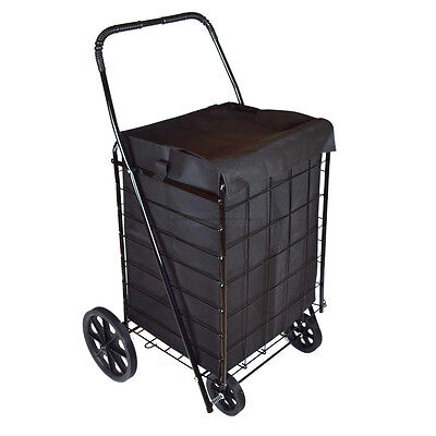 DLUX X-Large Folding Shopping Cart Basket with Matching Liner (D801SL, Black)