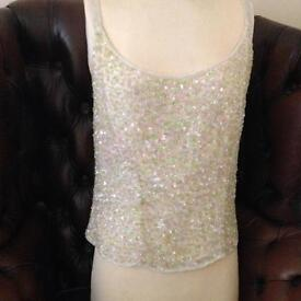 Frank Usher green and pink sequinned and beaded top (L)