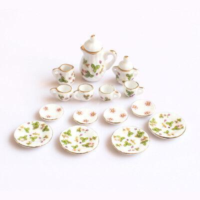 15 1:12 Dollhouse Miniature Green Flowers Porcelain Tea Coffee Set Tableware