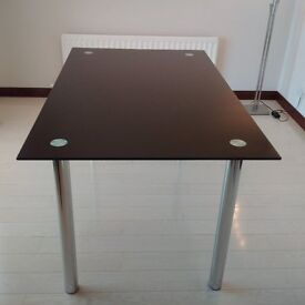 Black Glass Chrome Dining Table (As New)
