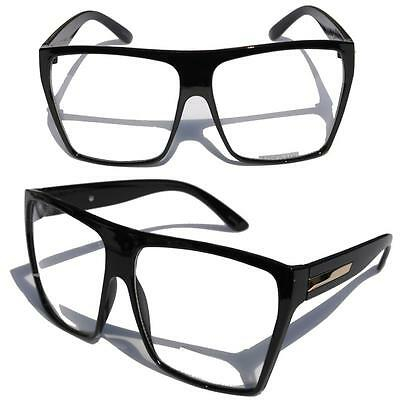 Big Oversized Gloss Black Super Nerdy Square Sun Glasses Trapezoid (Nerdy Black Glasses)