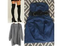 Size 10 denim bandeau dress with belt