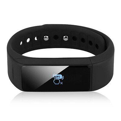 Bluetooth SmartWatch Bracelet Pedometer Step Calorie Counter Sport Tracker black