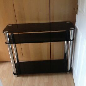 Console table black glass/chrome