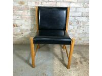 Vintage 1960s Black Faux Leather Chair With Wooden Frame