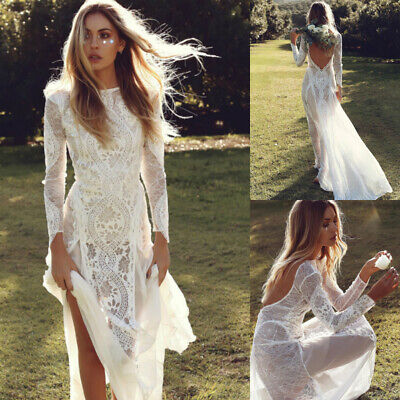 White Long Sleeves Lace Sheath Wedding Dresses Sexy Backless Beach Bridal Gown