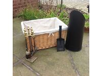 Log basket with coal scuttle, shovel. Also Fireside companion set with guard