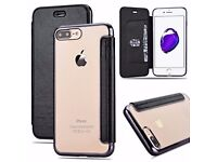 Clear Back Leather Flip Case Silicone Cover Wallet for iPhone 7 / 6S / 7 Plus - BRAND NEW