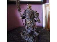 CHINESE BRONZE WITH GILT DRAGON GUAN YU WARRIOR GOD GUANGONG
