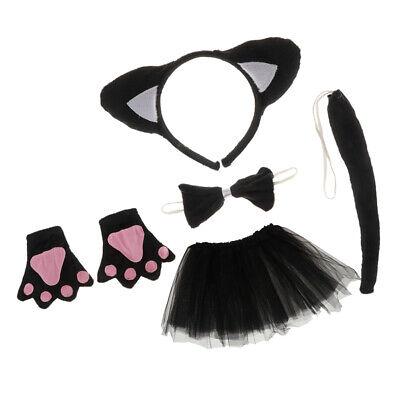 Weihnachten Mädchen Kinder Geburtstag schwarze Katze Kostüm Set Ohr
