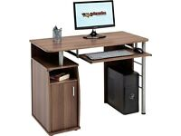 Computer and Writing Desk with Cupboard, Storage and Retractable Keyboard Shelf in Dark Walnut