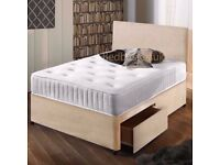 "Stone Suede Divan Bed & 10""Memory Foam Sprung Mattress With Free Headboard FREE NATIONWIDE DELIVERY"