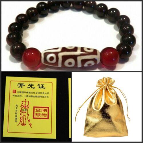 BLESSED 9-eye Agate dZi Beaded Bracelet-W Certification & Gift bag