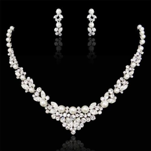 Bridal Wedding Swarovski Crystal Pearl Necklace Set Ivory Silver