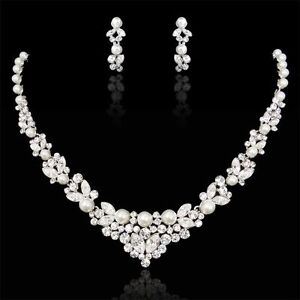 Bridal-Wedding-Necklace-Tiara-Set-Clear-Swarovski-Crystal-Pearl