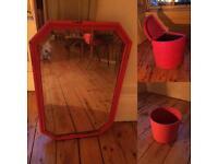 Retro mirror, washing basket and bin.