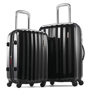 NEW Samsonite Prism 2-Piece Hardside Spinner (20/24) Luggage Set, Black, Checked  Medium
