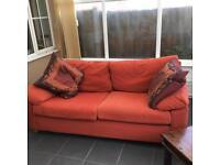 Terracotta red sofa