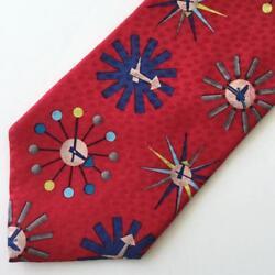 Starburst Clock Pattern Mens Red Tie Mid Century Modern George Nelson Style