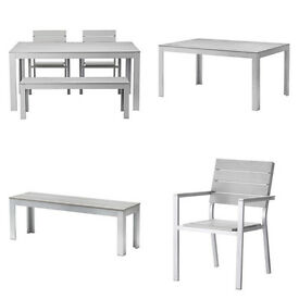 IKEA FALSTER Table and 2 Bench & 2 Chairs with Armrests in grey weather-resistant 160x100 cm