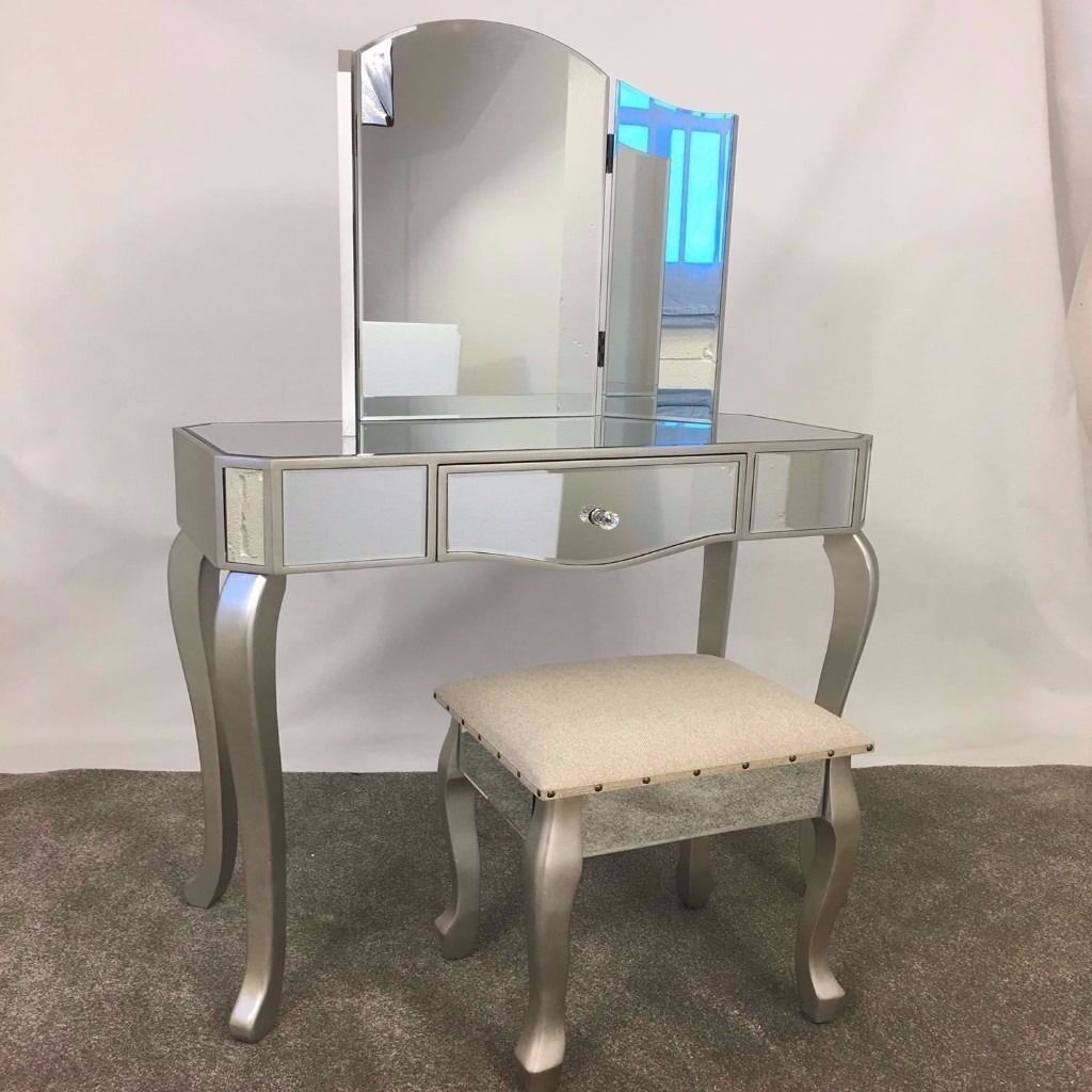 Glass dressing table - Champagne Silver Glass Mirrored Dressing Table Mirror Stool Set