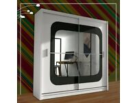 New 2 Door Curved Mirror Sliding 150/203cm Wardrobe in Black/Grey/Wenge/White/Walnut/Blck,Whte Color