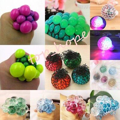 Lot Mesh Balls LED Squishy Grape Squeeze Sensory Fruity Stress Relieve Fidget - Mesh Squishy Ball