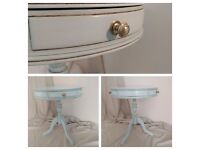 Duck Egg Blue Occasional Hall Console Drum Table with 3 drawers with brass knobs NEW up-cycled