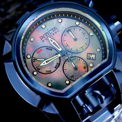 Invicta Reserve Bolt Zeus Magnum Blue Steel Platinum MOP 52mm Swiss Watch New