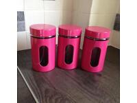 Pink storage jars