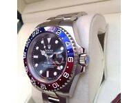 New Mens bagged and boxed silver bracelet with black face red blue bezel Rolex GMT Master II automat