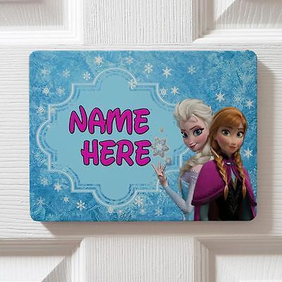 Personalised Frozen Themed Children's Bedroom Door Girls Name Sign Plaque DP03