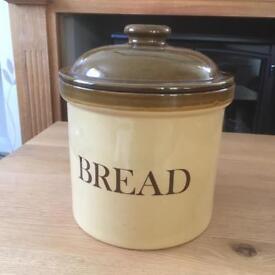 Vintage crock bread bin