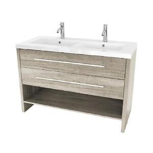 Vanité Luxo Marbre 2 tiroirs 1 tablette, lavabo inclus, 2 choix de couleur