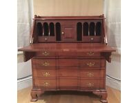 Antique Victorian Design Secretarial Brown Solid Wood Desk with Drawers