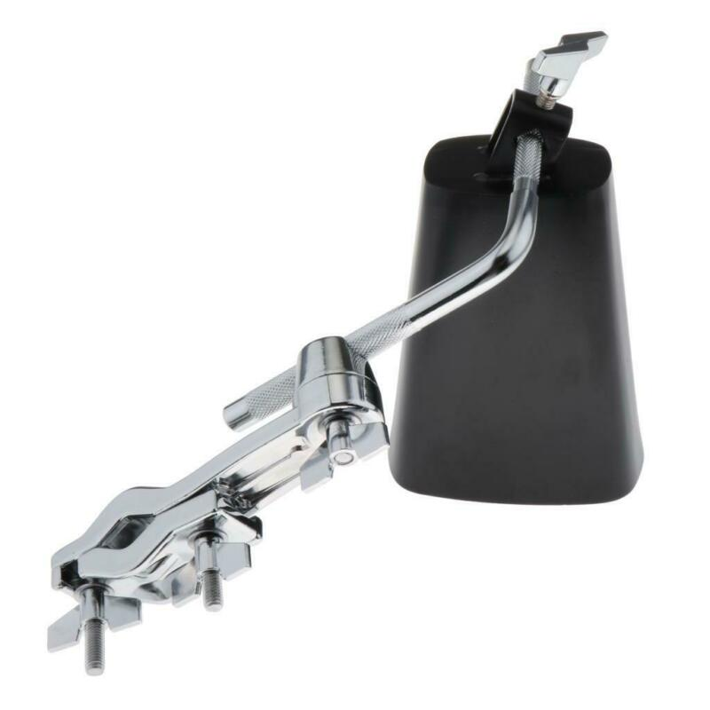 "6"" Cowbell Noise Maker Percussion Black Finish for Drum Set w/ Mount Bracket"