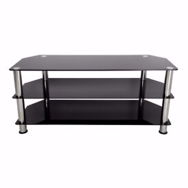 TV Stand- Black Glass with Chrome legs