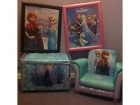 Frozen chair, toy box and pictures