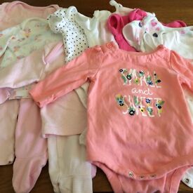 3-6 girls vests, pjs and baby grows