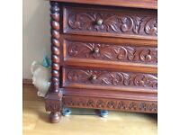 Real Mahogany Tudor Queen Anne and Art Deco style chest of drawers