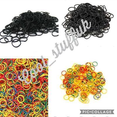 300 Mini Elastic Rubber Hair Bands Bobbles Cornrow Braiding Clear Ponytail Pouch - Mini Rubber Bands