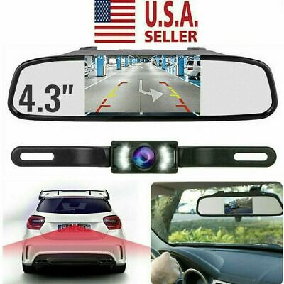 "Backup Camera Mirror Car Rear View Reverse Parking System Kit 4.3"" Night Vision"
