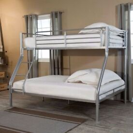 ORDER NOW SUPER ORTHOPEDIC MATTRESS WITH BLACK WHITE BASE NEW SINGLE TRIO SLEEPER METAL BUNK BED