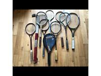 Vintage racquets etc, 2 tennis, 7 squash, 1 hockey stick