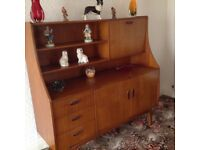 G-plan Tallish sideboard, drop leaf table + 4 ladder back chairs.