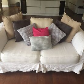 2 Ikea cream sofas with washable covers
