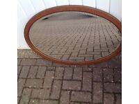 Old Large Oval Bevel Edge Mirror