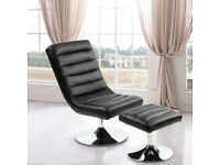 Faux Black Leather Recliner Chair and Footstool