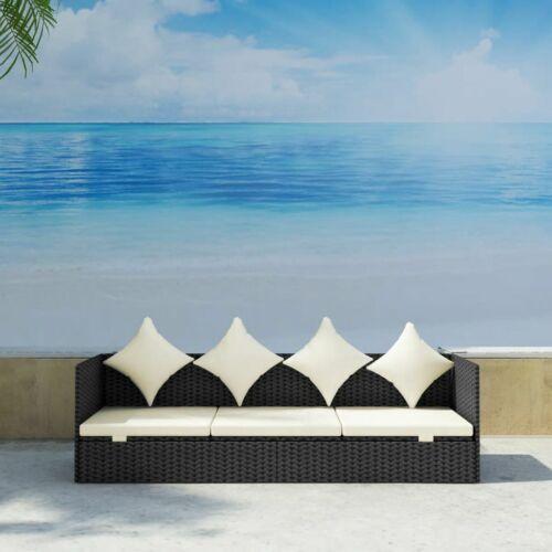 Garden Furniture - Rattan Furniture Home Outdoor Garden Patio Balcony Sofa With Cushion Black