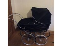 Vintage black coach built silver cross Pram with cream interior